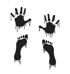 Handprint and footprint vector image vector image
