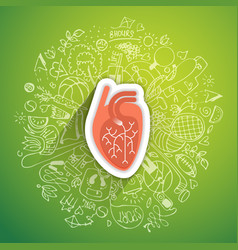 human heart concept about healthy lifestyle and vector image