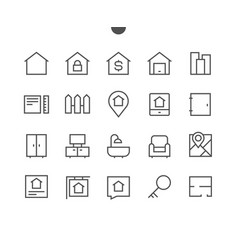 real estate outlined pixel perfect well-crafted vector image