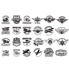 set of airplane training center emblems design vector image