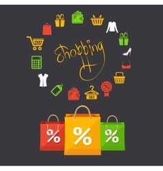 shoppinng sale concept card vector image