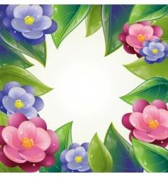 spring leaves and violet frame vector image vector image