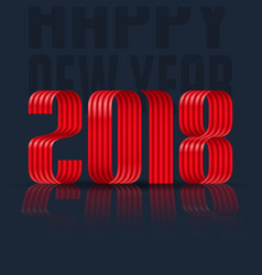2018 happy new year red ribbon on black background vector