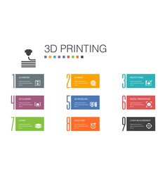 3d printing infographic 10 option line concept3d vector
