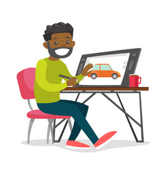 A black man graphic designer works at the office vector