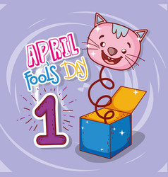 April fools day celebration with cat box vector