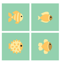 Aquarium fish set vector