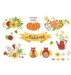 autumn floral set colorful floral elements for vector image