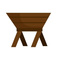 Baby cot of wood manger icon vector