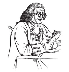 Benjamin franklin scientist vintage engraving vector