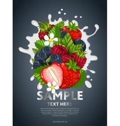 Berry mix on milk splash vector