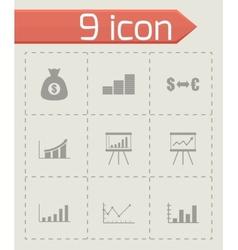 black economic icon set vector image