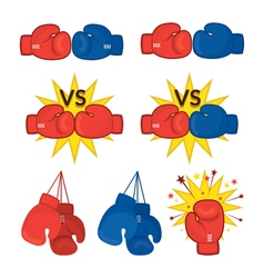 Boxing gloves red and blue vector