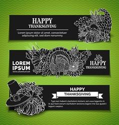 Chalk Thanksgiving horizontal banners set vector