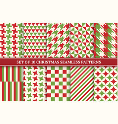 christmas seamless colorful textile patterns vector image