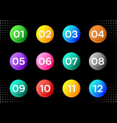 Circle buttons with white calendar month numbers vector