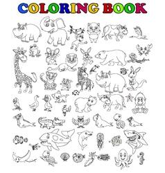 coloring book of big animal cartoon set vector image
