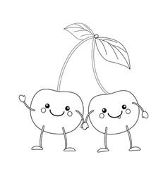 Colorless funny cartoon cherry vector