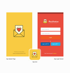 Company love letter splash screen and login page vector