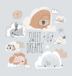 cute cartoon animals sleeping on clouds sweet vector image