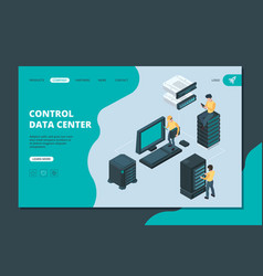 data server landing software and hardware items vector image