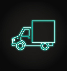 delivery truck icon in neon line style vector image