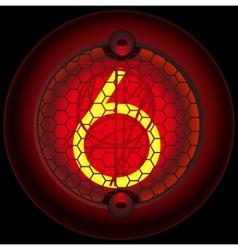 Digit 6 six Nixie tube indicator vector