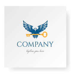 Eagle falcon hawk with key for real estate vector