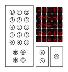 elevator buttons icon set elements elevator vector image