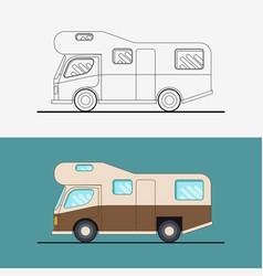 family traveler truck journey camping traveling vector image