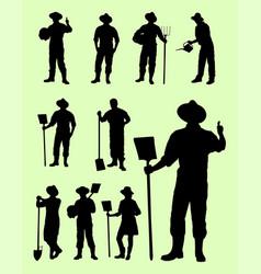 Farmer gesture silhouette vector