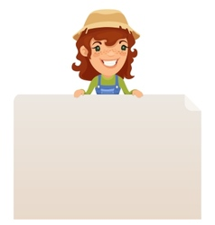 Female Farmer looking at Blank Poster on Top vector