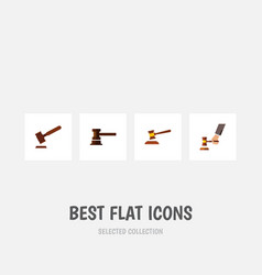 flat icon court set of hammer government building vector image