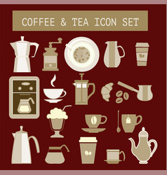flat tea and coffee icons for web design vector image