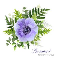 Floral elegant botanical violet anemone bouquet vector