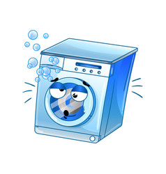 funny automatic washer cartoon character vector image