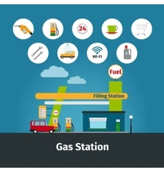 Gas station with flat icons vector image vector image