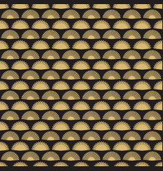 Gold hand fan seamless pattern design abstract vector