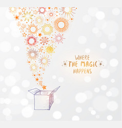 Greeting card with open gist box full of stars on vector