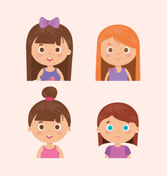 Group of little girls characters vector