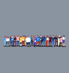 Group people standing together diverse men vector