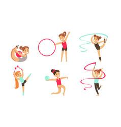 gymnast girls performing rhythmic gymnastics vector image