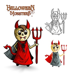 Halloween monsters scary cartoon devil man EPS10 vector