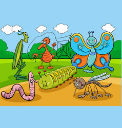 happy insects and bugs cartoon characters group vector image