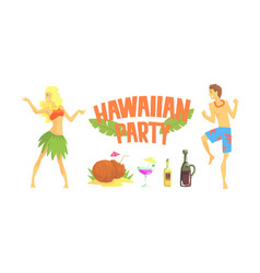 hawaiian party happy people relaxing on summer vector image