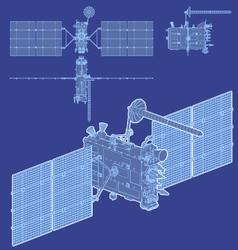 hidetailed gps satellite vector image