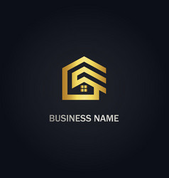 home realty building gold logo vector image