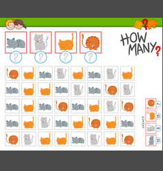 How many cats counting game for kids vector