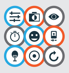 Image icons set with camera front remove red eye vector