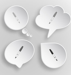 Ink pen White flat buttons on gray background vector